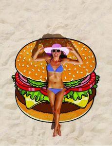 Yuvarlak Plaj Havlusu Pizza Hamburger Baskılı 150 cm Büyük Yüzme Banyo Havlusu Mandala Hint Goblen Plaj Atmak Havlu Açık Piknik Battaniye