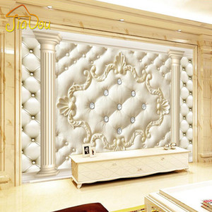 Al por mayor-European Style Roman Column Soft Pack 3D Estereoscópica Personalizada Mural Wallpaper Living Room Sofá No tejido TV Telón de fondo