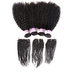 Mongol Kinky Curly cabelo com fecho mongol cabelo Virgin com Lace Encerramento mongol profunda Curly Cabelo Humano 3 pacotes com fecho