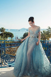 2017 Custom Made Elie Saab Vestidos de Noite Ilusão Sheer Saias Céu Azul Sexy Longo Prom Vestidos de Luxo Peplum Celebrity Evening Dress