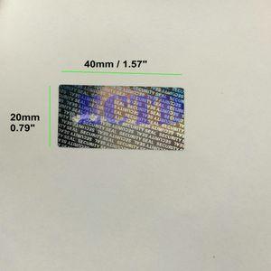 500 pcs 40 * 20mm Holograma Selo de Segurança À Prova de Inválidez de Garantia Vácuo Etiqueta Adesivos