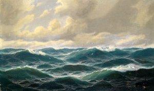 Incorniciato bella vista sul mare verde onde dell'oceano con gli uccelli, genuino dipinto a mano Pure Seascape Art olio su tela spessa Multi Size ny
