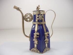 Oryantal Vintage İşi Gümüş Porselen Ejderha Maymun Çaydanlık