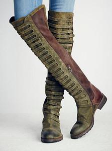 Patchwork Retro Scarpe Inverno Botas Mujer Zip piatta Stivali da motociclista Stivali Army Green Stivaletti lunghi Stivali al ginocchio vintage Donna