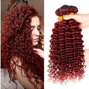 # 99j Burgund Deep Curly Mit Verschluss 9a Brasilianische Reine Haarverlängerungen Brasilianische Webart Bundles Weinrot Tiefes Lockiges Haar Welle Menschenhaar