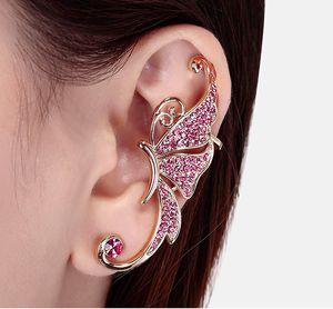 2017 New Fashion Punk Rhinestone Earrings For Women butterfly Gold Earring Ear Cuff Jewelry Free shipping