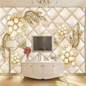 현대 간단한 3 차원 벽화 보석 꽃 8d TV 배경 벽 종이 완벽한 전체 거실 5d 배경 벽지