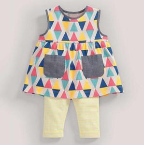 BST29 Nouveautés Little Maven Kids 100% coton cartoon à manches courtes Coloré Square print set de filles d'été causal filles set t-shirt + pantalon