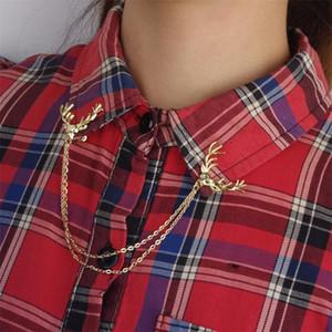 LNRRABC Venta 1 Unid Señora Deer Head Cadena Vintage Collar Pin Broche Accesorios de Joyería Delicado Regalo