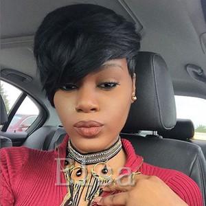 Mode Rihanna Style Kurze schicke und regelmäßige Perücke Brasilianische Jungfrau Pixie geschnitten Glueless Cap Machine Made Menschenhaarperücken