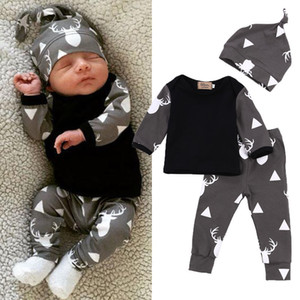 Bonito recém-nascido Baby Girl Clothes Boy cervos Tops T-shirt de manga comprida + calças Casual Hat Cap 3pcs Outfits Set outono