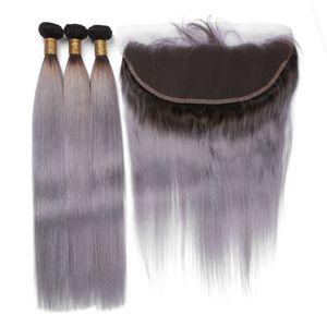 Tramas brasileiras do cabelo humano de Ombre do cinza de prata com Frontal 9A Onda do corpo # 1B / Grey Dois tons Fechamento frontal do laço de Ombre 13x4 com 3Bundles