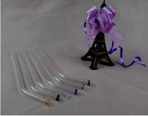 Соломы стеклянные бонги аксессуары длина 23 см диаметр 10 мм, стекло курительные трубки красочные мини многоцветные ручные трубы Лучшая ложка стеклянная труба