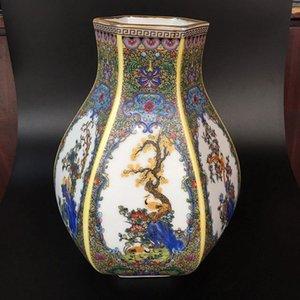 Chinois antique Famille rose en porcelaine fleurs et oiseaux peints à la main éventail forme vase W Mark Yongzheng - décoration de la maison décoration