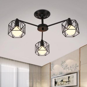WOXIU chandelier lights American countryside ceiling,Led lamp Iron curved pipe plus metal shade home living decoration