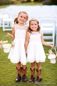 Emma Elizabeth dentelle blanche robes fille fleur pour enfant en bas âge Filles de soirée de mariage courte anniversaire première communion formelle fille porte