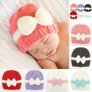 Knitted Boys Cap Kids Girls Boys Bow knot Knitted Crochet Hat Newborn Winter Warm Cap Winter Hats For Girl