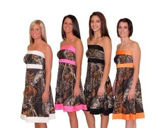 Camo 신부 들러리 드레스 Strapless 무릎 길이 라인 짧은 웨딩 파티 드레스 명예 가운의 하녀 주니어 댄스 파티 드레스 BA1912