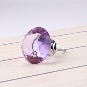 40mm Elmas Şekli Mor Kristal Cam Kabine Kolu Topuzu Dolap Çekmece Topuzu Ev Mutfak Çekmece Için Parlak Cilalı Krom Çekin 9E