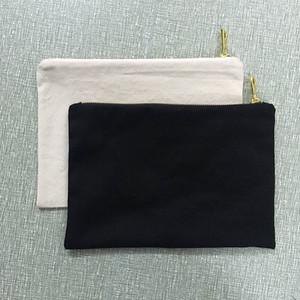 bolsa de cosméticos en blanco lienzo de algodón natural bolsa de cosméticos en blanco bolsa de cosméticos natural de lona 12oz para serigrafía en relieve