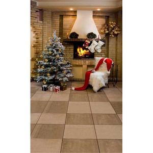 Крытый дом кирпич камин Рождественская елка фон для фотографии подарочные коробки белое одеяло на стул зимний праздник фотосессия фон