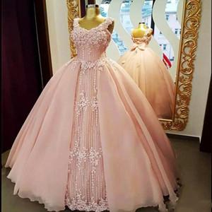 Yumuşak Pembe Balo Gelinlik Modelleri Ile 2018 Dantel Aplikler Korse Geri Abiye giyim Ilmek Suudi Arabistan Resmi Parti Vestidos