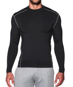 New cashmere quente rápido e seco esportes collants de mangas compridas de gola alta dos homens de outono e inverno correndo treinamento de fitness roupas sportswear