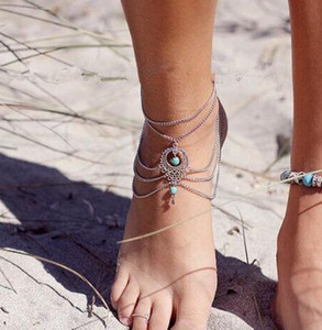 Europe and the United States Beach Foot Chain Retro Hollow Turquoise Drops of Foot Jewelry