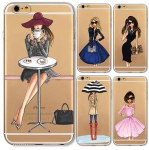 Casos de telefone para o iphone 6 6 s plus 6 plus 4 4s 5c 5 5S se macio slim tpu transparente dos desenhos animados moderno sexy meninas padrão case para iphone 7 8 capa