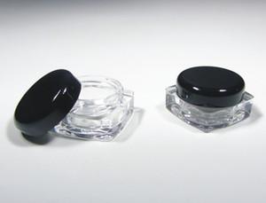 Envases de cosméticos plásticos de la belleza de los tarros de la pared gruesa de 50Pcs que empaquetan - 5 gramos (tapas negras o claras) + nave libre