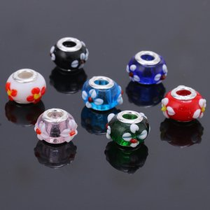 MIx color 14mm DIY Flor Murano Glass Big Hole Beads Charms Fit Europa Pulseras Collares Accesorios Resultados de la joyería