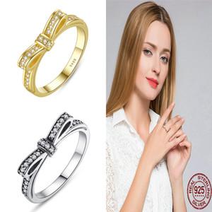 BAMOER Auténtico 100% 925 Sterling Silver Sparkling Bow Nudo Apilable Pandora Ring Joyas de Boda para Mujeres Elegantes Anillos