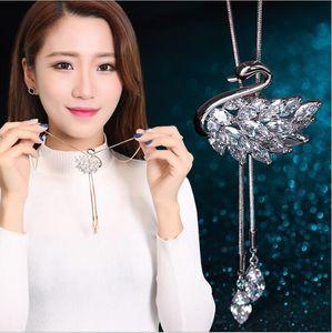 Moda elegante Swan camisola cadeia colar de cadeia longa feminino todos os jogo temperamento acessórios de luxo brilhar transporte rápido