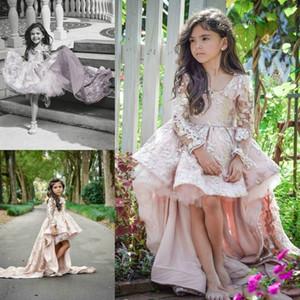 Adorável Alta Baixa Tule Rendas Flor Meninas Vestidos de Trem de Manga Longa Meninas Pageant Vestido 2019 Barato Menina Formal Wear vestido de Baile