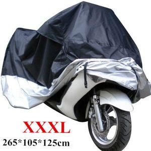Brand New XXXL impermeable cubierta de la motocicleta negro plata Motor de costura XXXL 265 x 105 x 125 cm MOT_512