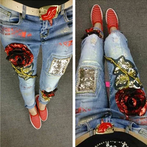 Wholesale- Ladies Denim Pants Womens Ripped Vintage Rose Sequined Style Skinny Jeans Female Boyfriend Jeans Distressed Stretch Jeans