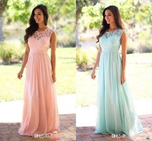 2019 Barato Coral Mint verde largo Junior vestido de dama de encaje gasa piso-longitud país estilo playa vestidos de dama de honor vestidos formales