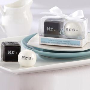 Cubo Cilindro De Cerâmica Sr. Sra Sal e Pimenta Shakers Branco Preto Shaker Cozinha Ferramentas de Festa Favorece O Presente Do Casamento Do Presente 100 conjuntos (2 pçs / set)