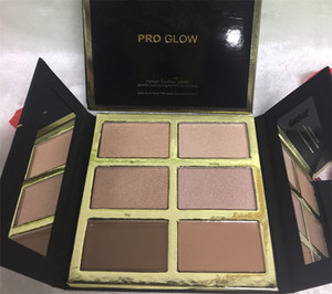 Nuevo maquillaje en caliente PRO Glow Highlight Contour Palette 6 Color Powder Kit DHL Envío + regalo
