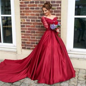 V-Ausschnitt aus der Schulter Burgund langen Ärmeln Prom Kleider Matt Satin Illusion Zurück Abendkleid Formale Party Kleid Vestido de Formatura