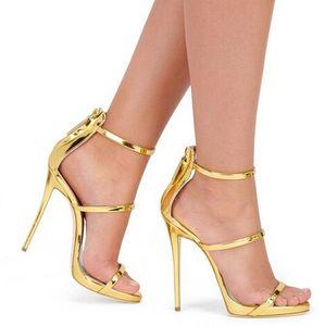Yeni Orada Ince Strappy Sandalet Terlik Yüksek Topuklu Altın Gümüş Deri Gladyatör Sandal Kadınlar Slaytlar Ayakkabı Kadın Sandalias Mujer Özel Renk