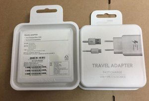 Original OEM Black White Fast Travel Adapter Wall Charger + Type-C Cable With Retail Packaging For Samsung Galaxy S8 S8 Plus Moto Z C9 Pro