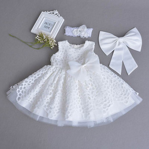 소매 여자 아기 세례 가운 레이스 화이트 민소매 첫 생일 파티 드레스 머리띠 아이 의류 0-2Y 70106