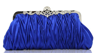 hot sell new style bridal hand bags diamond fold satin clutch bag makeup bag wedding evening party bag shuoshuo6588
