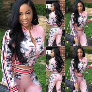 Frauen Hoodies Zipper Up Pink Print Floral Set Fashion Street Frauen Tops + Lange Hosen 2 Stück