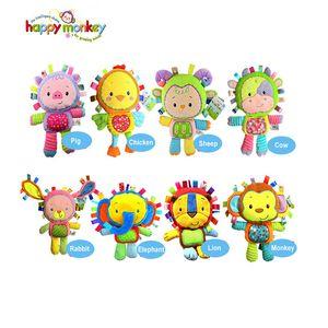 Wholesale- Happy Monkey 8 Styles Baby Cheerful Rocking With Bibi Sound Soft Gentle Rattle Plush Toy Cute Animals 0M+ Dolls