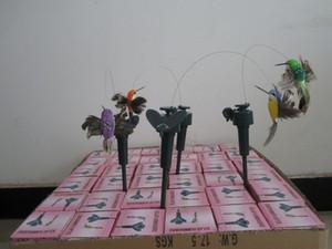 144pcs voladores solares revoloteando colibríes, aves voladoras solares con ala de plumas, juguete de pájaros de jardín DHL FEDEX SHIPPING