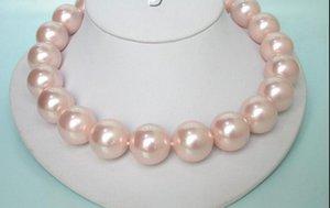20 мм 100% круглый розовый Южного моря перлы раковины ожерелье 9KT