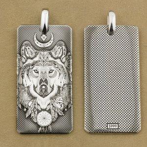 LINSION Deep Laser Engravé 999 Sterling Silver Indian Wolf DogTag Haute Détails Mens Biker Punk Pendentif 9X031S Just Pendant