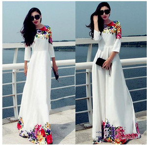 2017 Longue Parti Femmes Robes blanc imprimé floral Maxi Boho Robe de plage Taille Plus Robe Casual Robe Longo Ropa Mujer